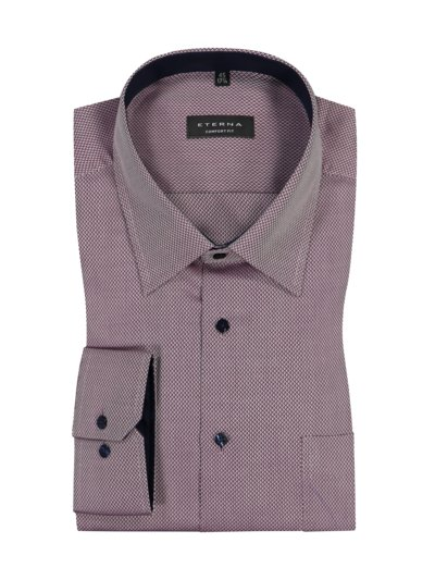 Shirt with micro texture and breast pocket v BORDEAUX
