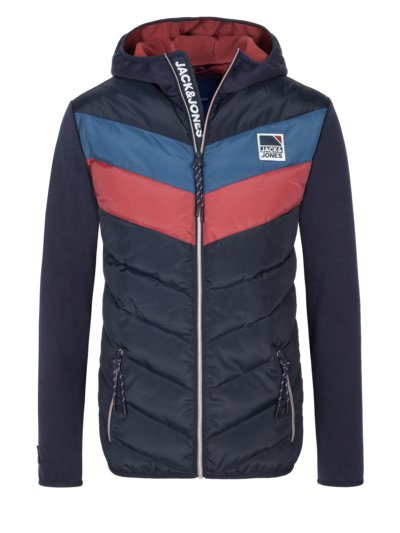 Hybrid quilted jacket with hood v BLUE
