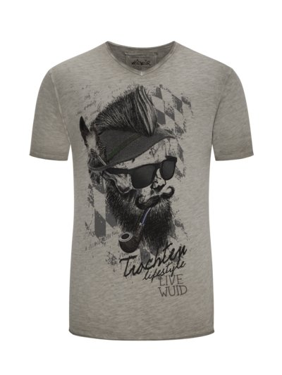 T-shirt with fashionable front print v GREY
