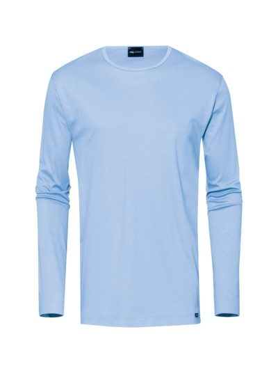 Bequemes Langarm-Shirt, mit O-Neck in HELLBLAU