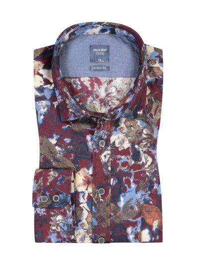 Casual shirt in a modern fit with breast pocket v RED