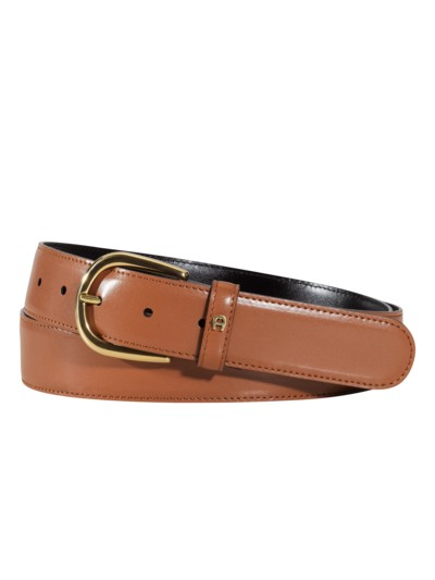 Business belt with round buckle v COGNAC
