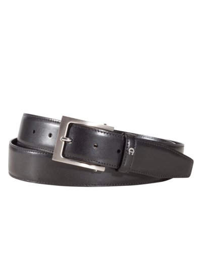 Business belt with rectangular buckle v BLACK