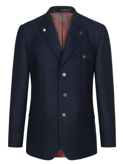 Traditional jacket with micro texture v MARINE
