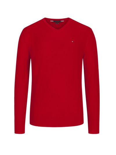 Pullover, V-Neck, in Waffelstrick-Optik in ROT