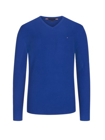 Pullover, V-Neck, in Waffelstrick-Optik in ROYAL