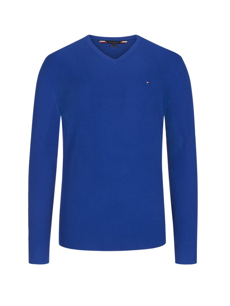 Tommy Hilfiger Pullover, V-Neck, in Waffelstrick-Optik ROYAL in Übergröße