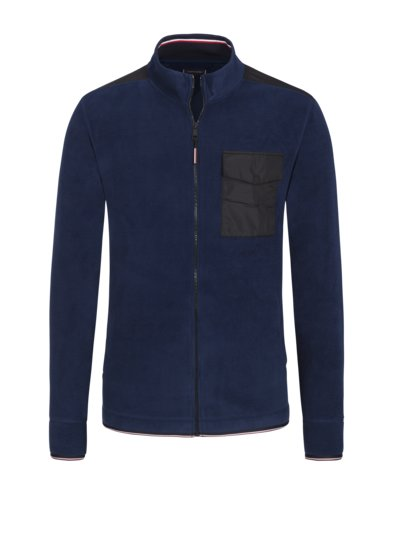 Fleece jacket with buttoned breast pocket v MARINE