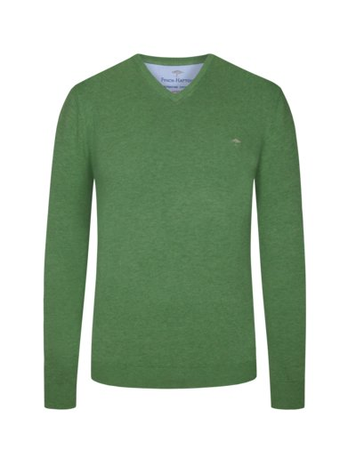 Sweater, V-neck, 100% cotton v GREEN