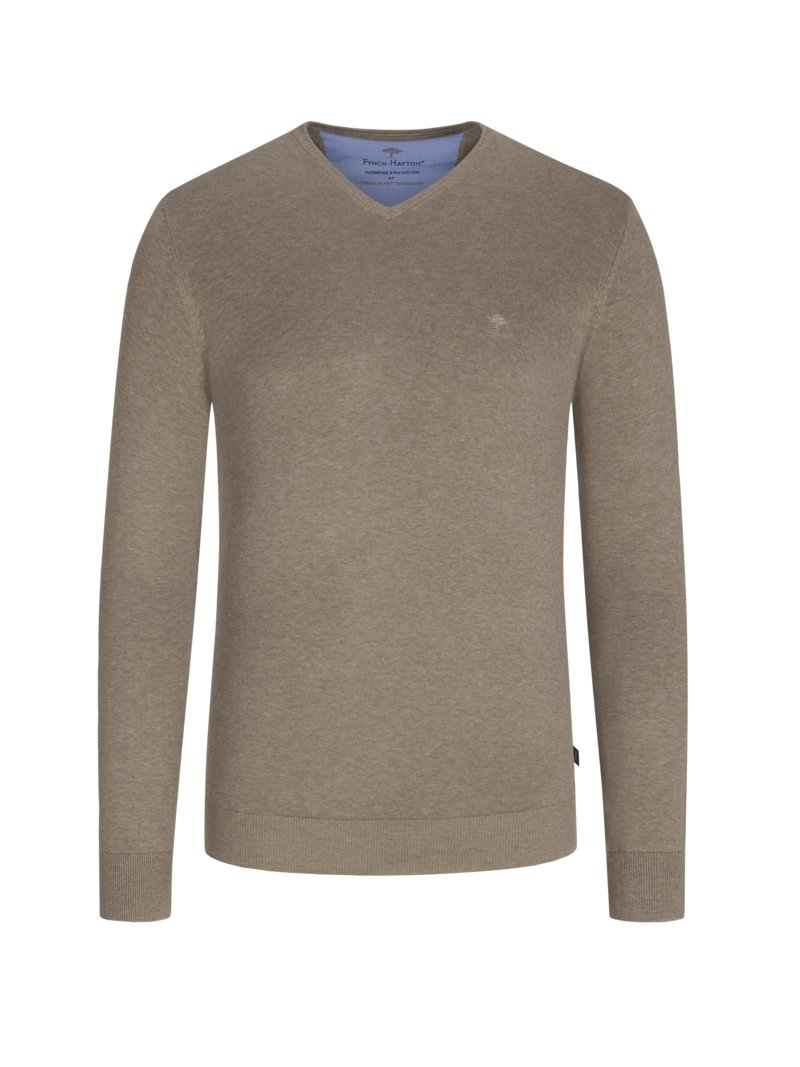 Fynch-Hatton Pullover, V-Neck, in 100% Baumwolle, extralang ROYAL in Übergröße