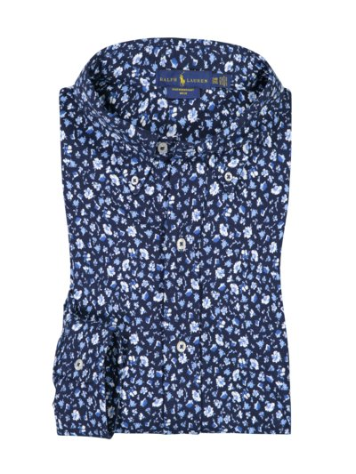 Casual shirt with floral pattern v BLUE