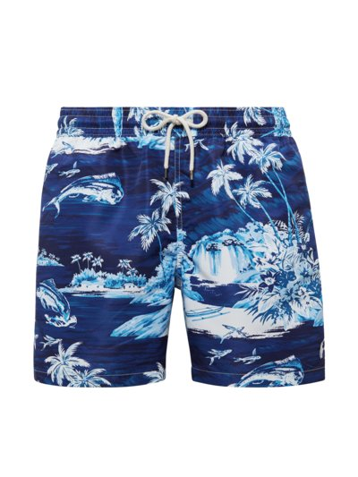 Swimming trunks with ocean print v BLUE