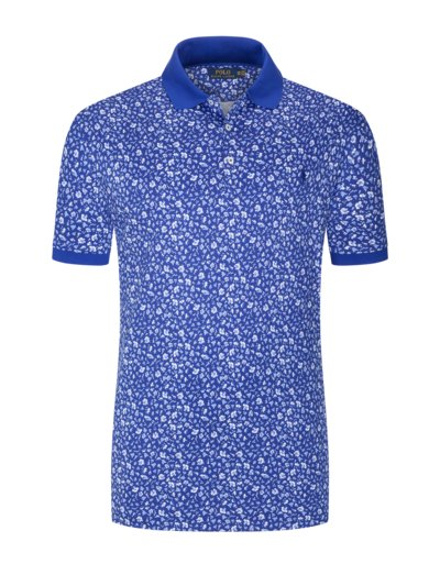 Poloshirt im Blumenprint, Soft-Touch Baumwolle in ROYAL