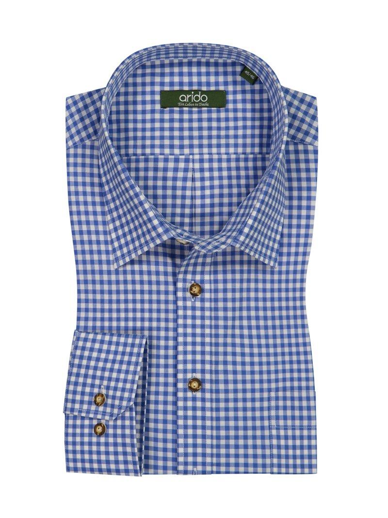 Arido Koszula ludowa w kratkę niebieski – Moda męska w  epKuI