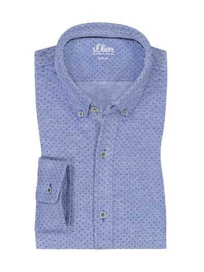 Jersey shirt with dot pattern v BLUE