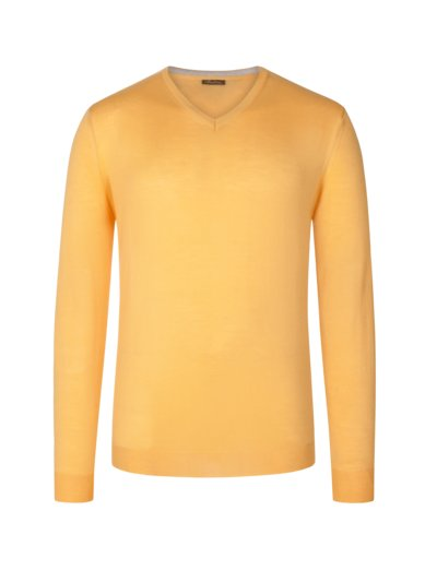 Sweater, V-neck, in extra fine merino wool v YELLOW