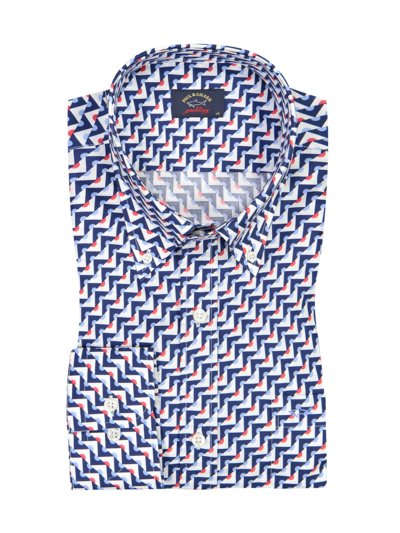 Casual shirt with a stylish pattern v BLUE