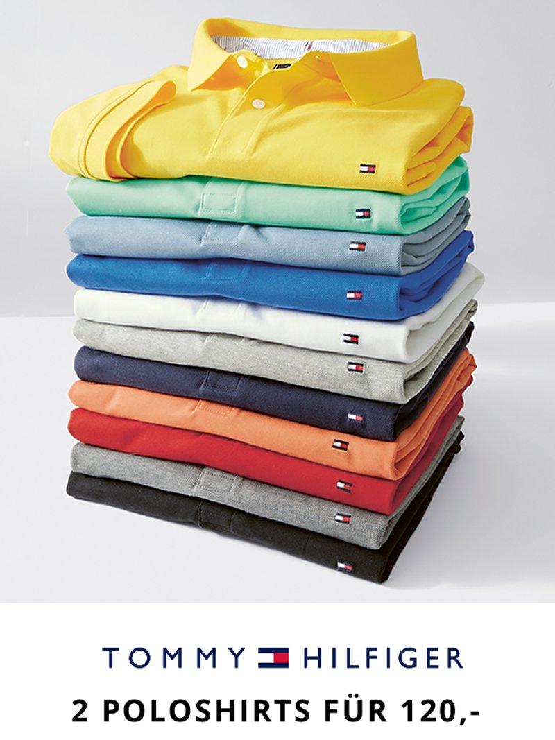 92fb0291896b61 Tommy Hilfiger Doppelpack Aktion, Poloshirts in Pique-Qualität TUERKIS in  Übergröße