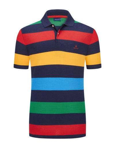 Polo shirt with a striped pattern v MARINE