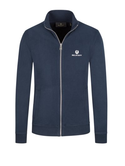 Sweater jacket with embroidered logo v BLUE