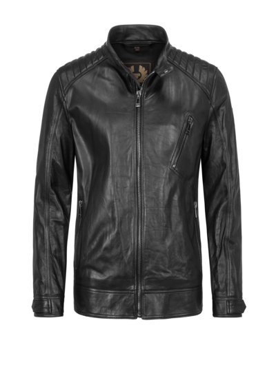 Leather jacket in a biker style v BLACK