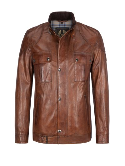 High-quality leather jacket in a biker style, Gangster 2.0 v COGNAC