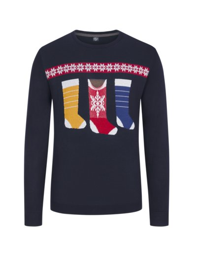 Sweater with Christmas motif v BLUE