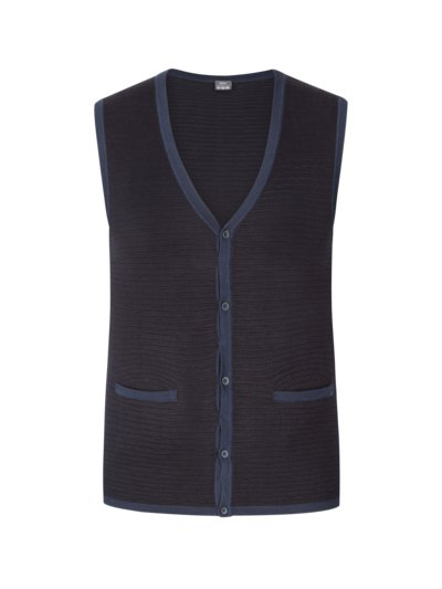 Knit vest with micro texture v MARINE