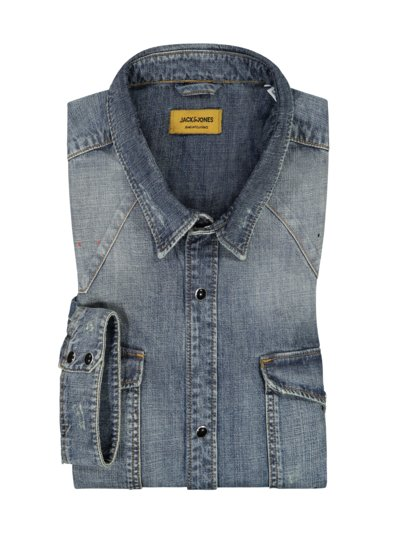 Denim shirt with a used look v STONE
