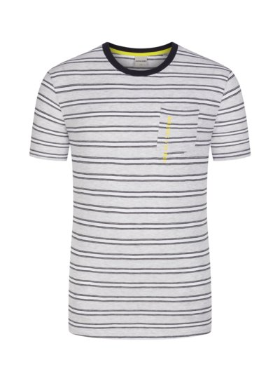 T-shirt with striped pattern v GREY