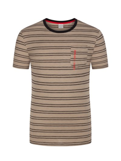 T-shirt with striped pattern v OLIVE-