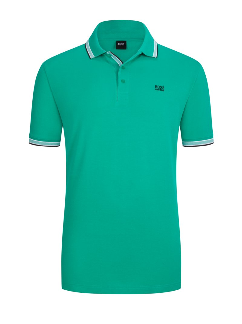 Boss Polo shirt with contrast collar, B-Paddy GREEN in plus size