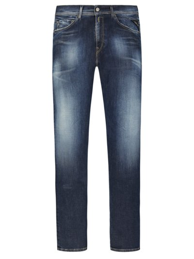 Modische Used-Jeans, Hyperflex, Anbass in BLAU