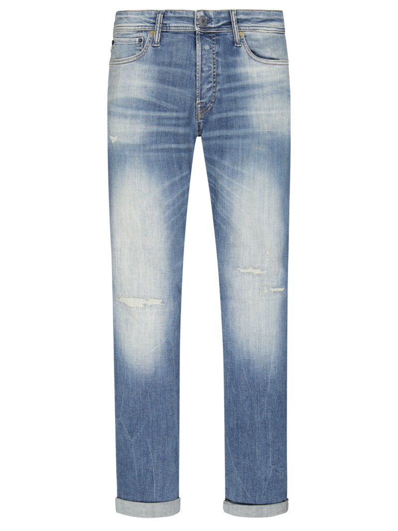 Jack & Jones Washed 5-Pocket Jeans, Low Impact Denim BLAU in Übergröße