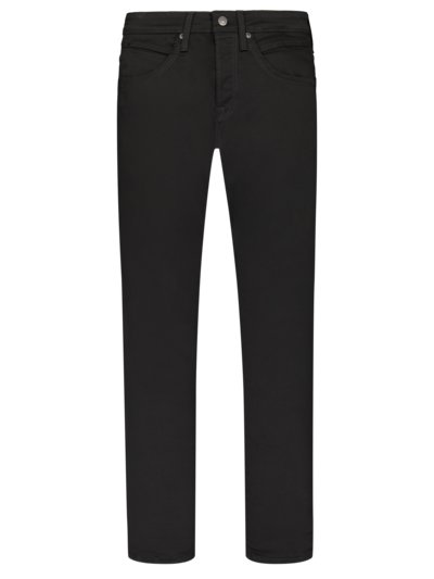 Jeans with stretch content, button fly v BLACK