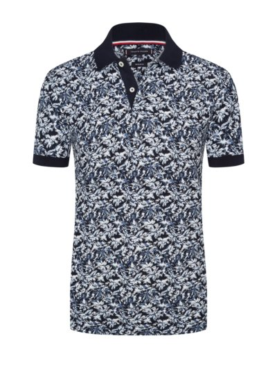 Polo shirt with palm print v MARINE