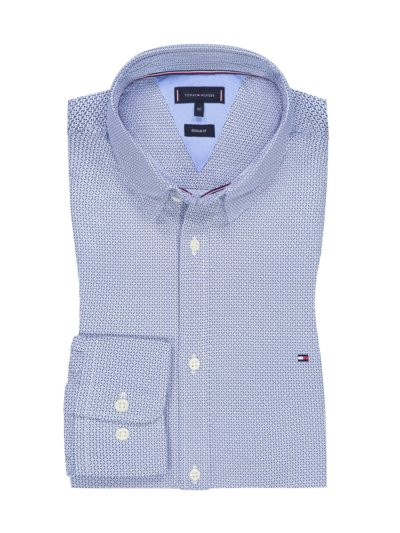 Casual shirt with micro print v BLUE