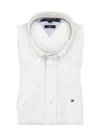 Linen shirt, short sleeved v WHITE