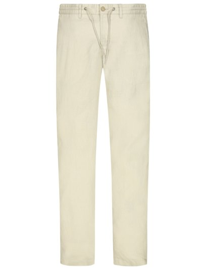 Linen trousers with drawstring v BEIGE