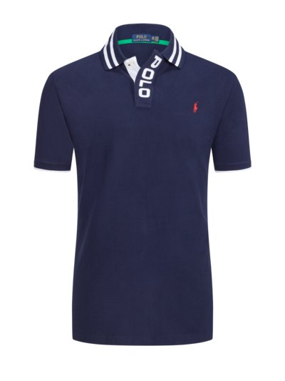 Polo shirt with large embroidered logo v MARINE