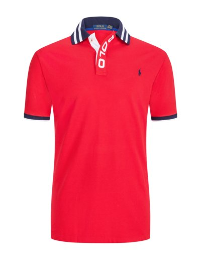 Polo shirt with large embroidered logo v RED