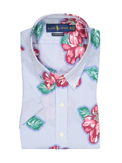 Short-sleeved shirt with Hawaiian floral print in seersucker fabric v LIGHT BLUE
