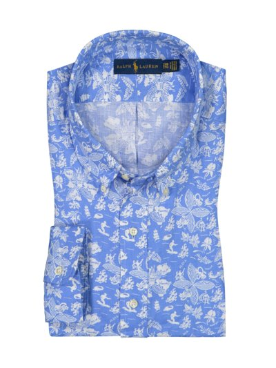 Linen shirt with Hawaiian print v LIGHT BLUE