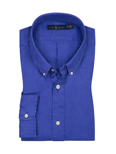 Leinenhemd mit Button-Down-Kragen in ROYAL