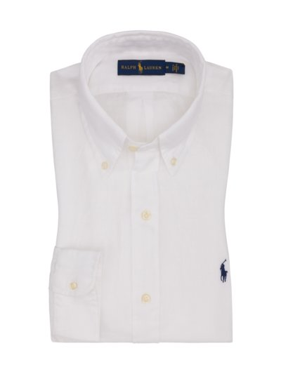 Linen shirt with button-down collar v WHITE