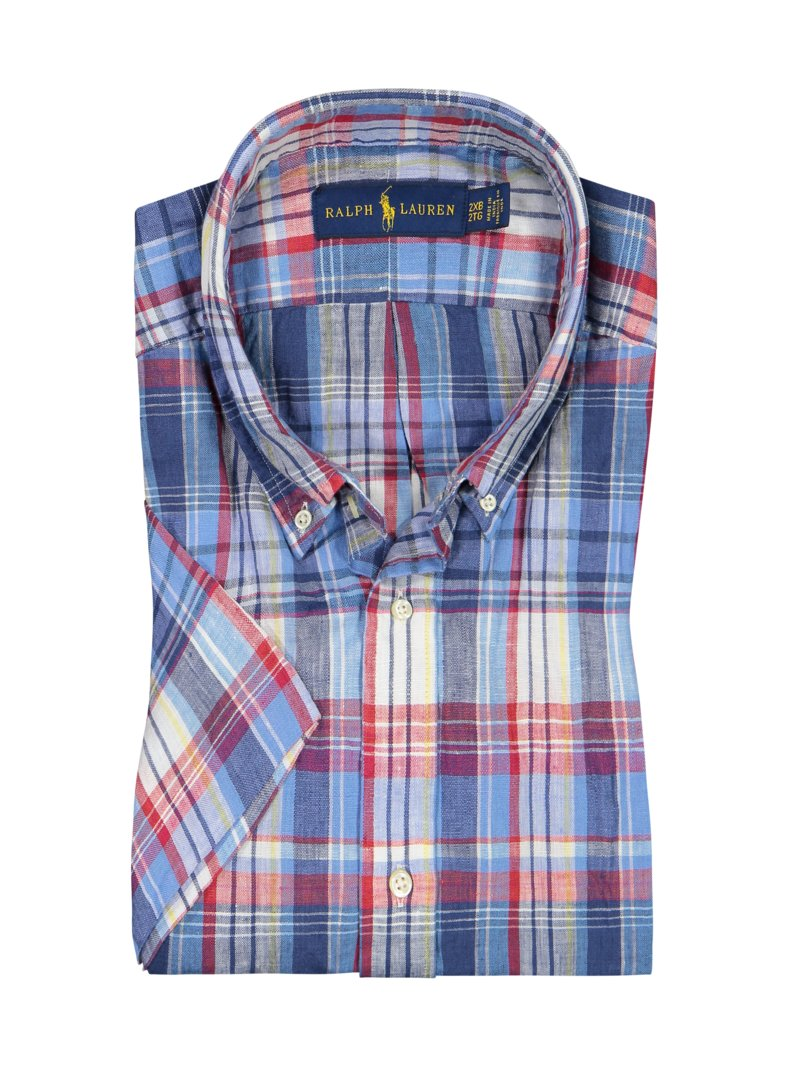 Polo Ralph Lauren Linen shirt, short sleeved, with check pattern BLUE in plus size