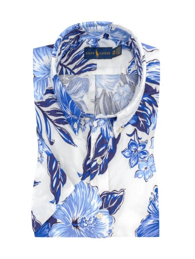 Short-sleeved shirt with Hawaiian floral pattern v BLUE