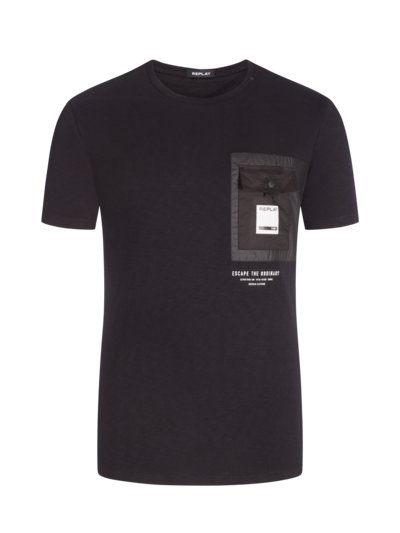 T-Shirt with breast pocket v BLACK