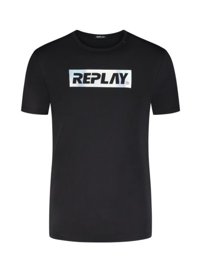 T-shirt with reflective logo v BLACK