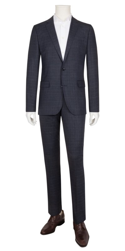 Business suit with stretch and glen check pattern v BLUE